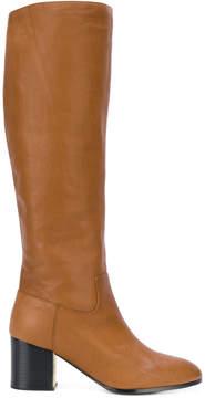 Jil Sander Navy knee-high contrast heel boots