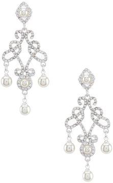 Cezanne Rhinestone & Faux-Pearl Filigree Scroll Chandelier Earrings