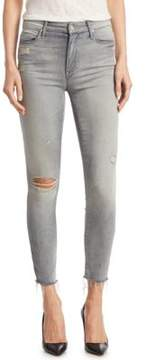 Mother Looker High-Waist Distressed Skinny Jeans