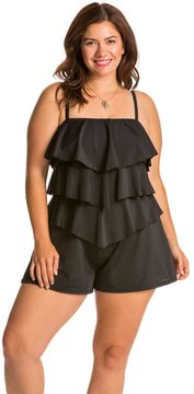 Fit 4 U Fit4U Swimwear Plus Size Solid Tiered Swim Romper 8113546