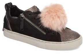 Crime London Women's Faux Fur Pom & Genuine Calf Hair Sneaker