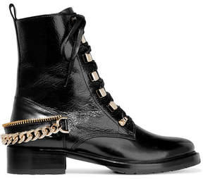 Lanvin Embellished Glossed Smooth And Textured-leather Ankle Boots - Black