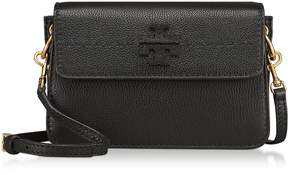Tory Burch Mcgraw Black Pebbled Leather Crossbody Bag - BLACK - STYLE