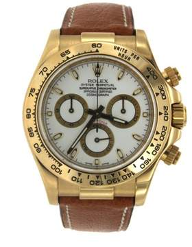 Rolex Yellow Gold Cosmograph Daytona with Brown Leather Strap