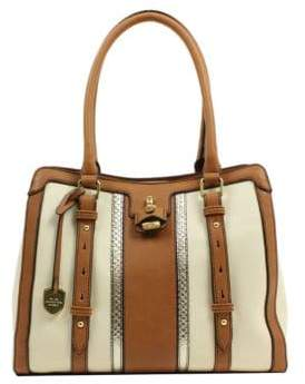London Fog Lancaster Colorblock Vegan Leather Triple Tote