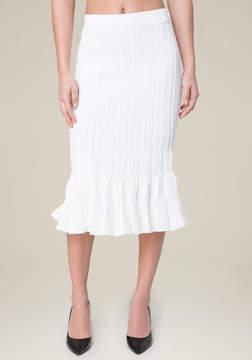 Bebe Knit Flutter Midi Skirt