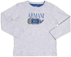 Armani Junior Logo Printed Cotton Jersey T-Shirt