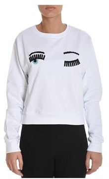 Chiara Ferragni Women's White Cotton Sweatshirt.