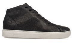 Crime London Men's Black Leather Hi Top Sneakers.