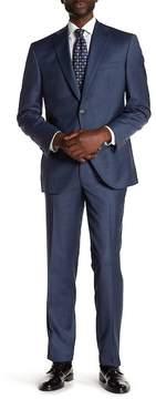 David Donahue Blue Sharkskin Two Button Notch Lapel Wool Classic Fit Suit
