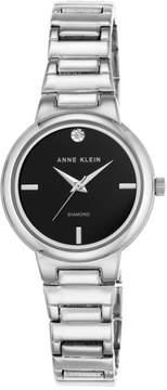 Anne Klein Silvertone Diamond-Accented Black Dial Bracelet Watch