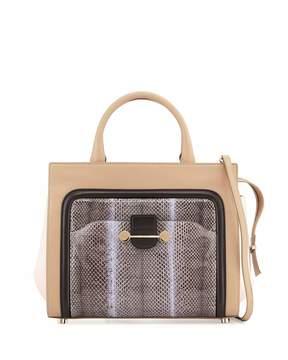 Jason Wu Daphne Watersnake & Leather Crossbody Tote Bag