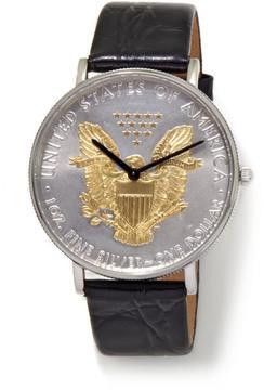 Croton U.S. Silver Dollar Leather Strap Watch