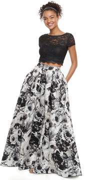 Speechless Juniors' Lace & Floral 2-Piece Prom Dress