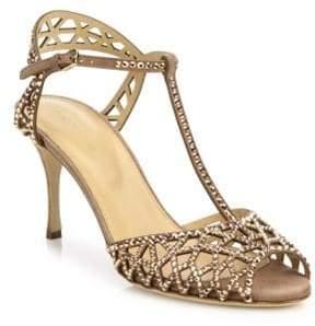 Sergio Rossi Tresor Crystal & Suede T-Strap Sandals