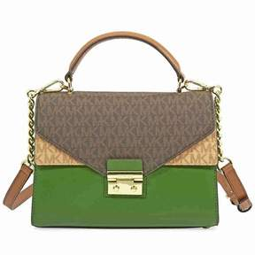 Michael Kors Sloan Medium Leather Satchel- Brown/Acorn/True Green - TRGR/BRCR - STYLE