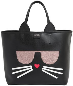 K Kocktail Cat Faux Leather Tote Bag