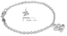 Ice Girls Silver December Birthstone Angel Charm Bracelet (5 1/2 or 6 1/2 In)