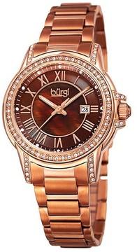 Burgi Brown Dial Ladies Rose Gold Tone Watch