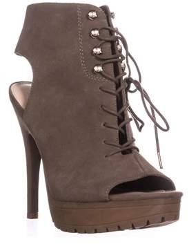Bar III B35 Emiko Platform Open Heel Ankle Boots, Taupe Grey.