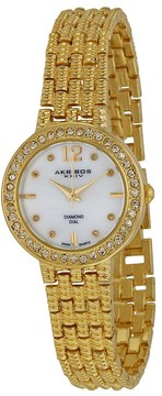 Akribos XXIV Mother of Pearl Dial Gold-tone Alloy Ladies Watch