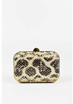 Tom Ford Pre-owned Grey & Green Python Box Clutch.