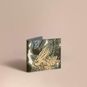 Burberry Beasts Print Leather Folding Wallet