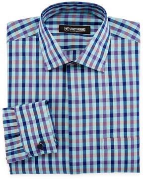 Stacy Adams Long Sleeve Woven Plaid Dress Shirt
