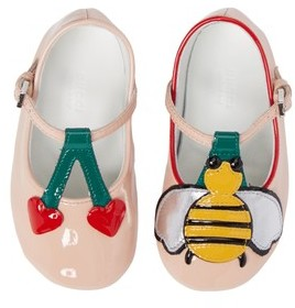 Gucci Infant Girl's Cerise Baby Bee Mary Jane Crib Shoe