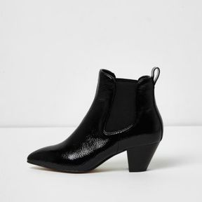 River Island Womens Black patent western ankle boots