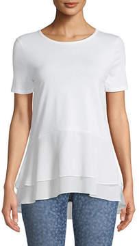 MICHAEL Michael Kors Double-Hem Short-Sleeve Top