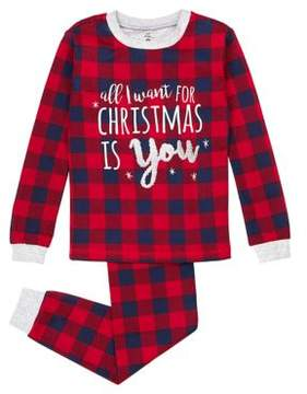Petit Lem Little Girl's and Girl's Two-Piece Team Santa All I Want for Christmas Cotton Pajama Top and Pants Set