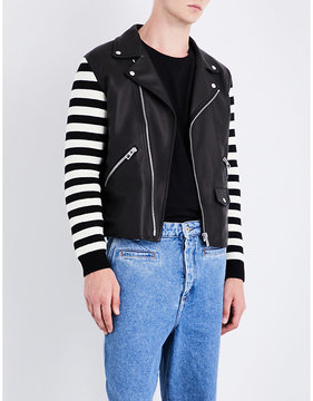 Loewe Contrast-sleeve leather jacket