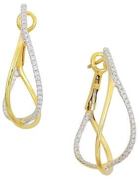 Frederic Sage 18K Yellow Gold Crossover Diamond Hoop Earrings