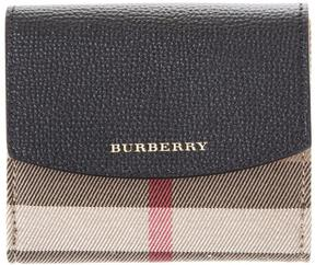 Burberry Leather & House Check Fabric Wallet - BLACK - STYLE