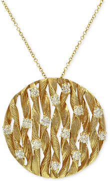 Effy D'Oro by Diamond Textured Circle Pendant (3/4 ct. t.w.) in 14k Gold
