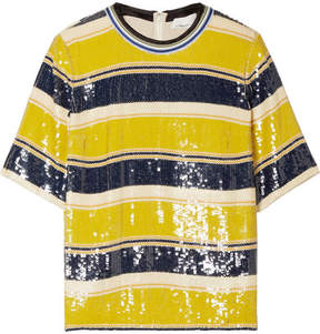 3.1 Phillip Lim Striped Sequined Silk T-shirt - Yellow