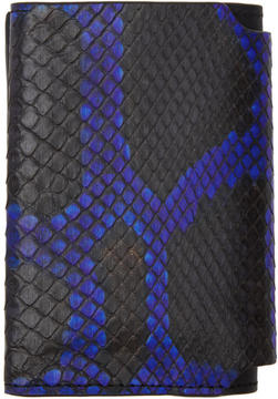 Lanvin Black and Blue Python Card Holder