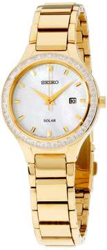 Seiko Core SUT138 Gold Tone Stainless Steel with Mother Of Pearl Dial 29mm Womens Watch