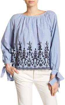 Catherine Malandrino Embroidered Trim Woven Blouse