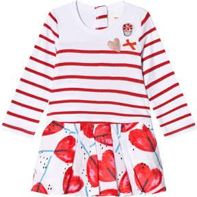 Catimini White Heart Lollipop and Stripe Dress