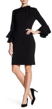 Alexia Admor Tie Neck Tiered Ruffle Sleeve Dress
