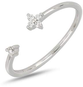 Bony Levy 18K White Gold Faceted Diamond Detail Open Ring - 0.06 ctw