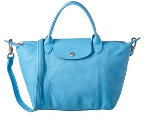 Longchamp Le Pliage Cuir Small Leather Top Handle. - LIGHT BLUE - STYLE