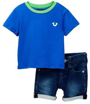 True Religion Buddha Tee & Denim Shorts Set (Baby Boys)