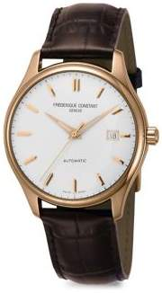 Frederique Constant Index Goldtone Stainless Steel & Alligator Strap Watch
