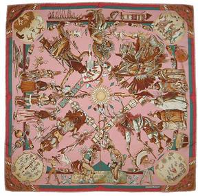 One Kings Lane Vintage Hermès Kermit Oliver Indiens Scarf w/Box