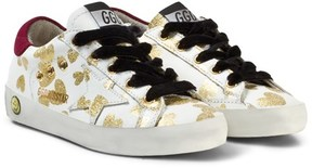 Golden Goose Deluxe Brand White Leather Gold Hearts Print Superstar Sneakers