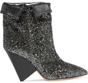 Isabel Marant Luliana Glittered Metallic Leather Ankle Boots - Gunmetal