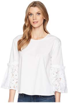 Ellen Tracy Poplin Shirt With Flouncy Sleeves Women's Clothing